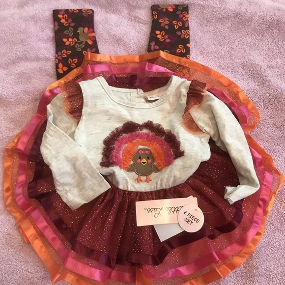 NWT Little Lass Turkey tutu outfit thanksgiving
